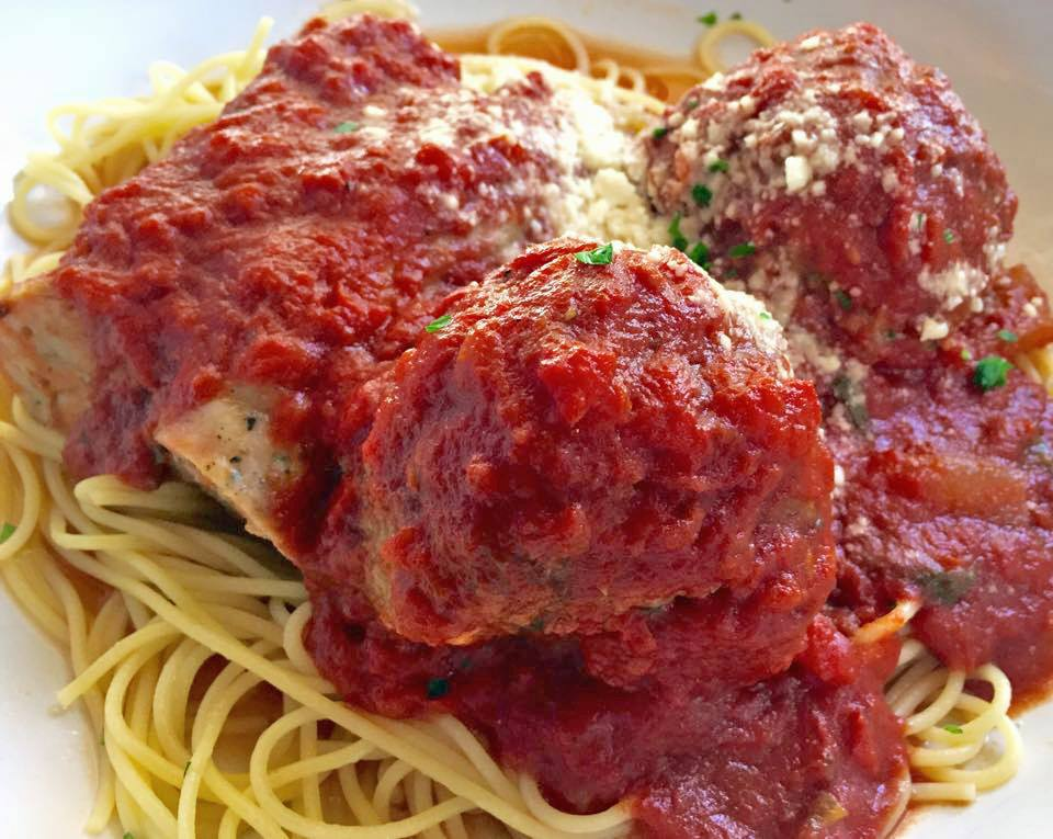 Spaghettini Meatballs, Sausage or Bolognese at Gratzzi Grille