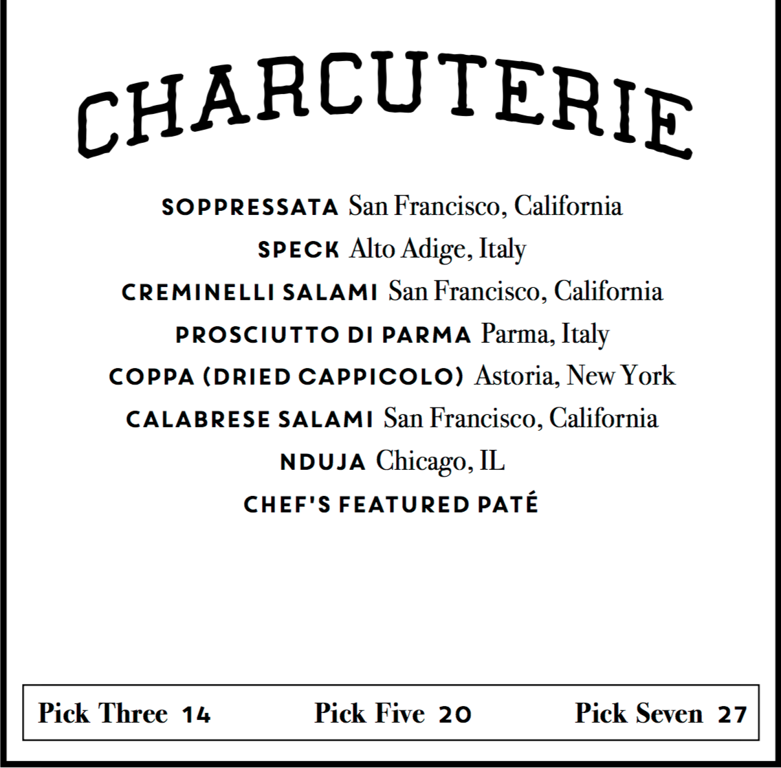 Annata Charcuterie Options
