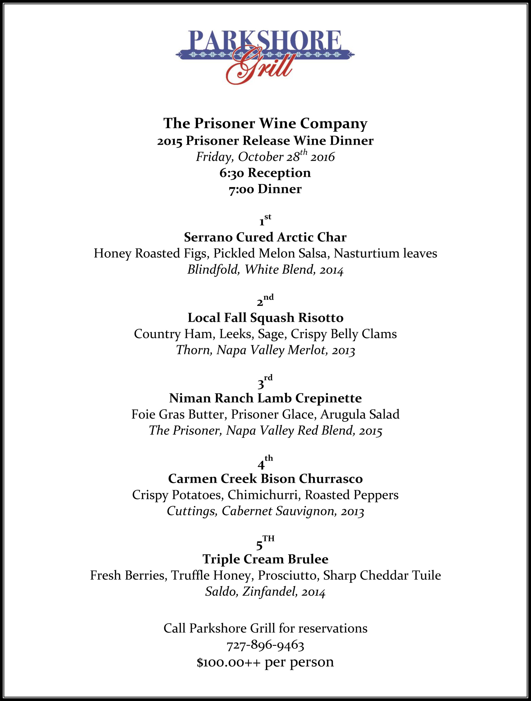 The Final Menu for The Prisoner Wine Dinner