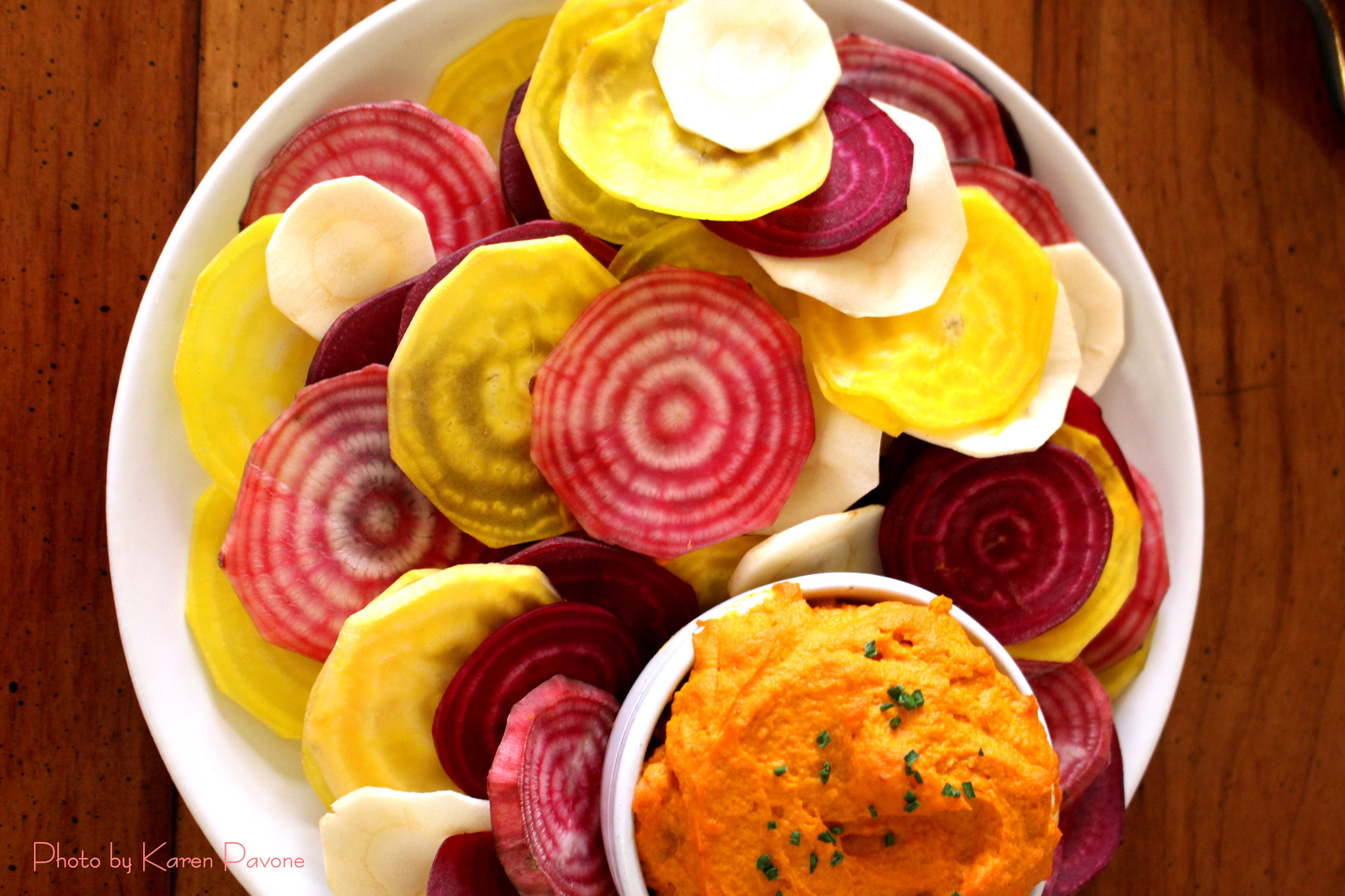 Root Vegetable Chips With Roasted Carrot Hummus