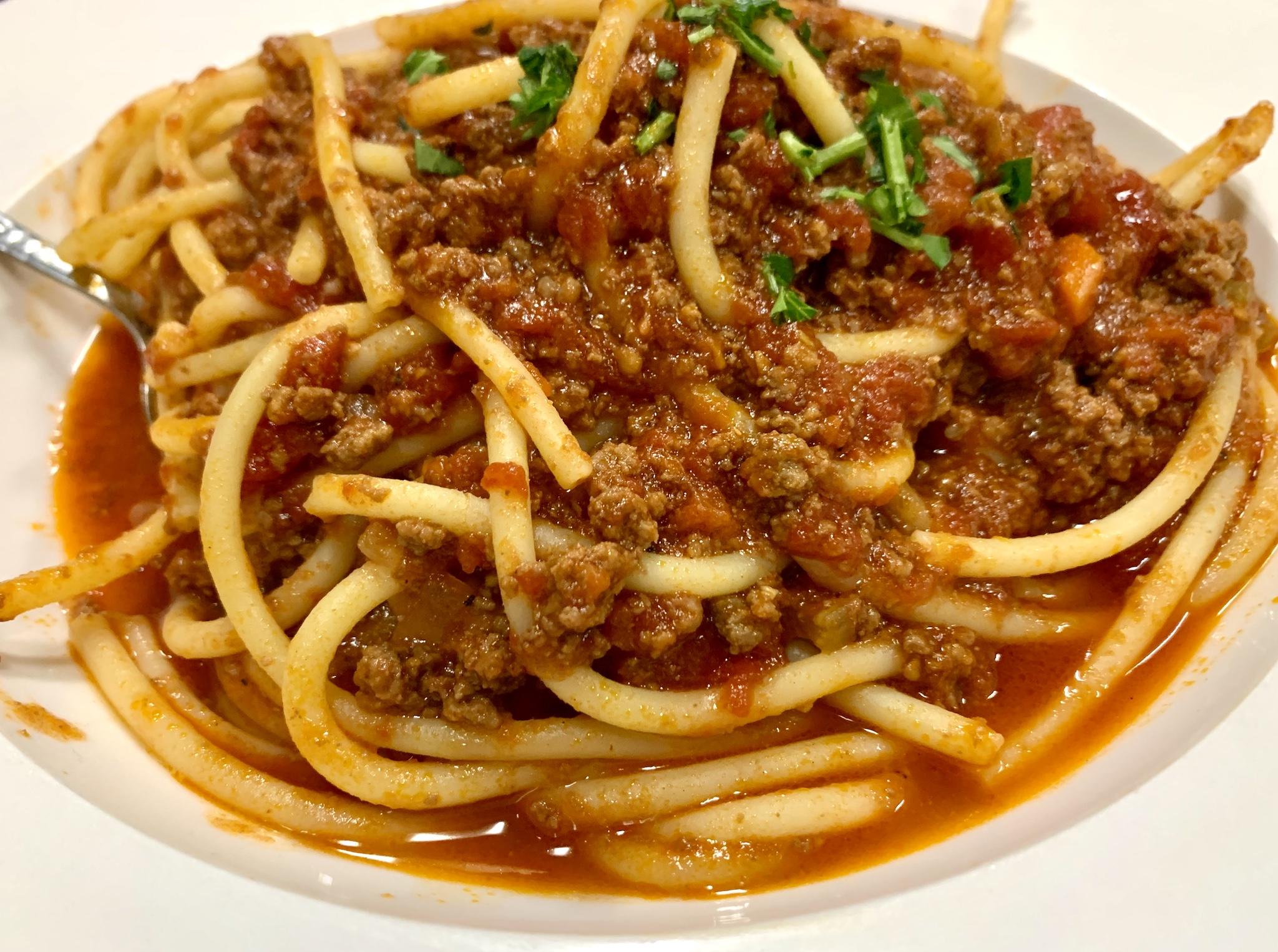 Verducci's Buccatini Alla Bolognese