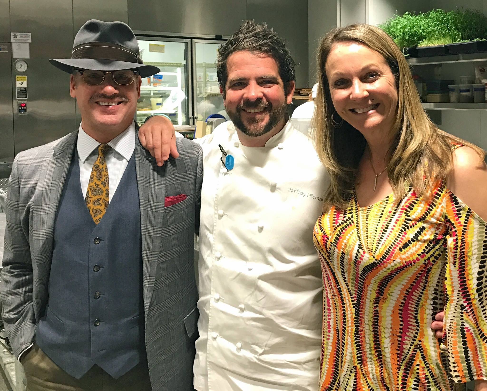 "Kevin Godbee & Lori Brown Hanging out in the kitchen at FarmTable Kitchen with Chef ""Cheffery"" Jeffery Hileman."
