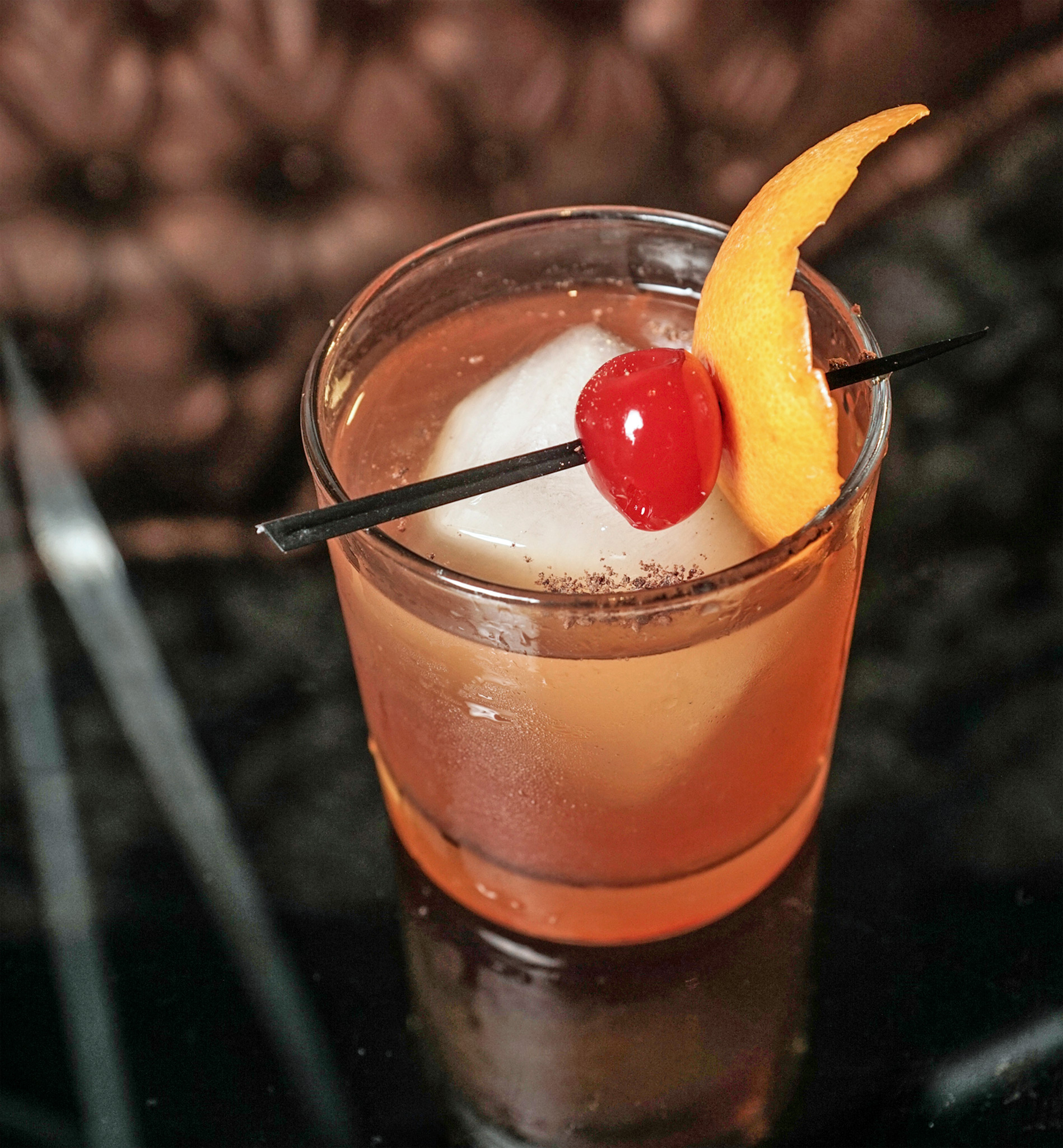 Chocolate Old Fashioned - buffalo trace bourbon, tempus fugit creme de cacao, angostura bitters, luxardo cherry & orange peel