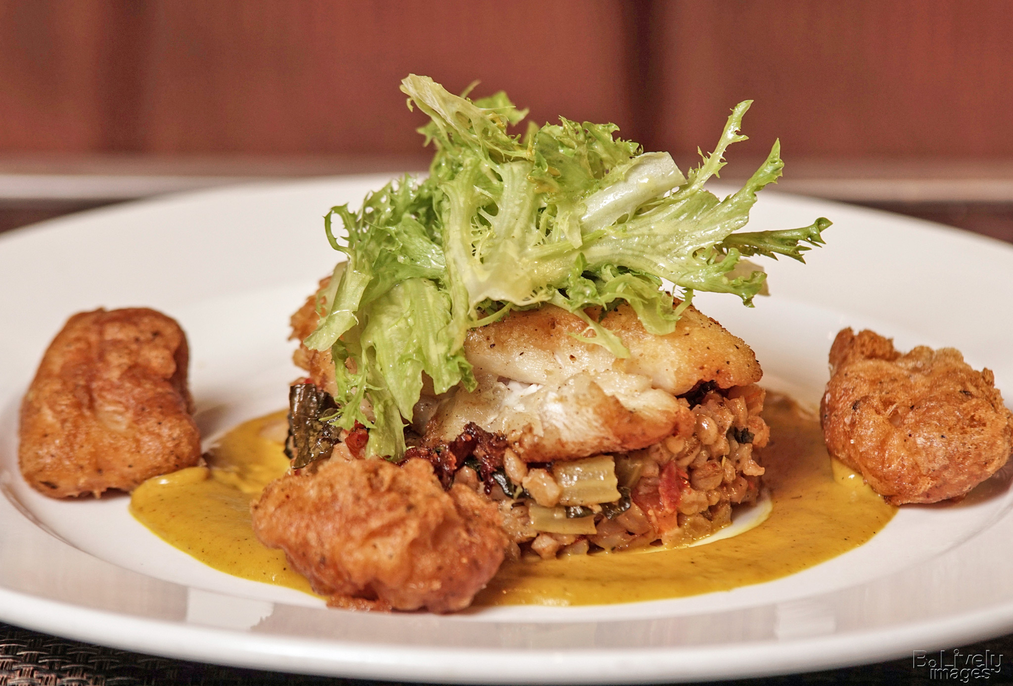 Grouper - seared gulf grouper, farro pilaf, fried grouper cheeks, mango coconut rum sauce