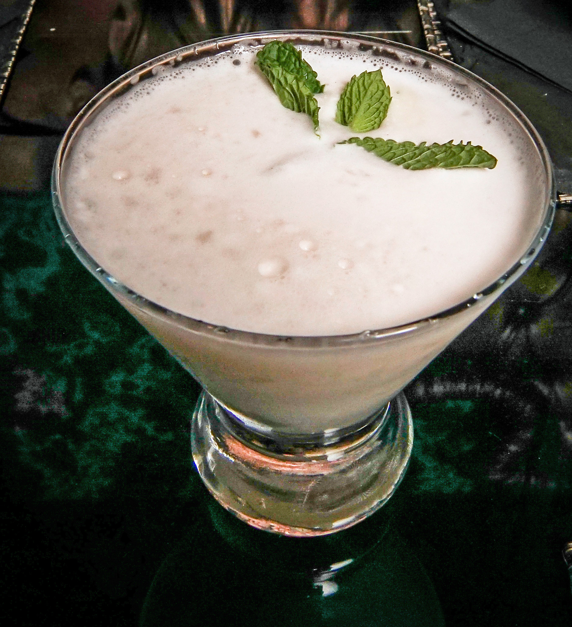 Irish Grasshopper - jameson black barrel whiskey, marie brizard white creme de cocoa, marie brizard green creme de menthe & heavy cream garnished with a mint sprig