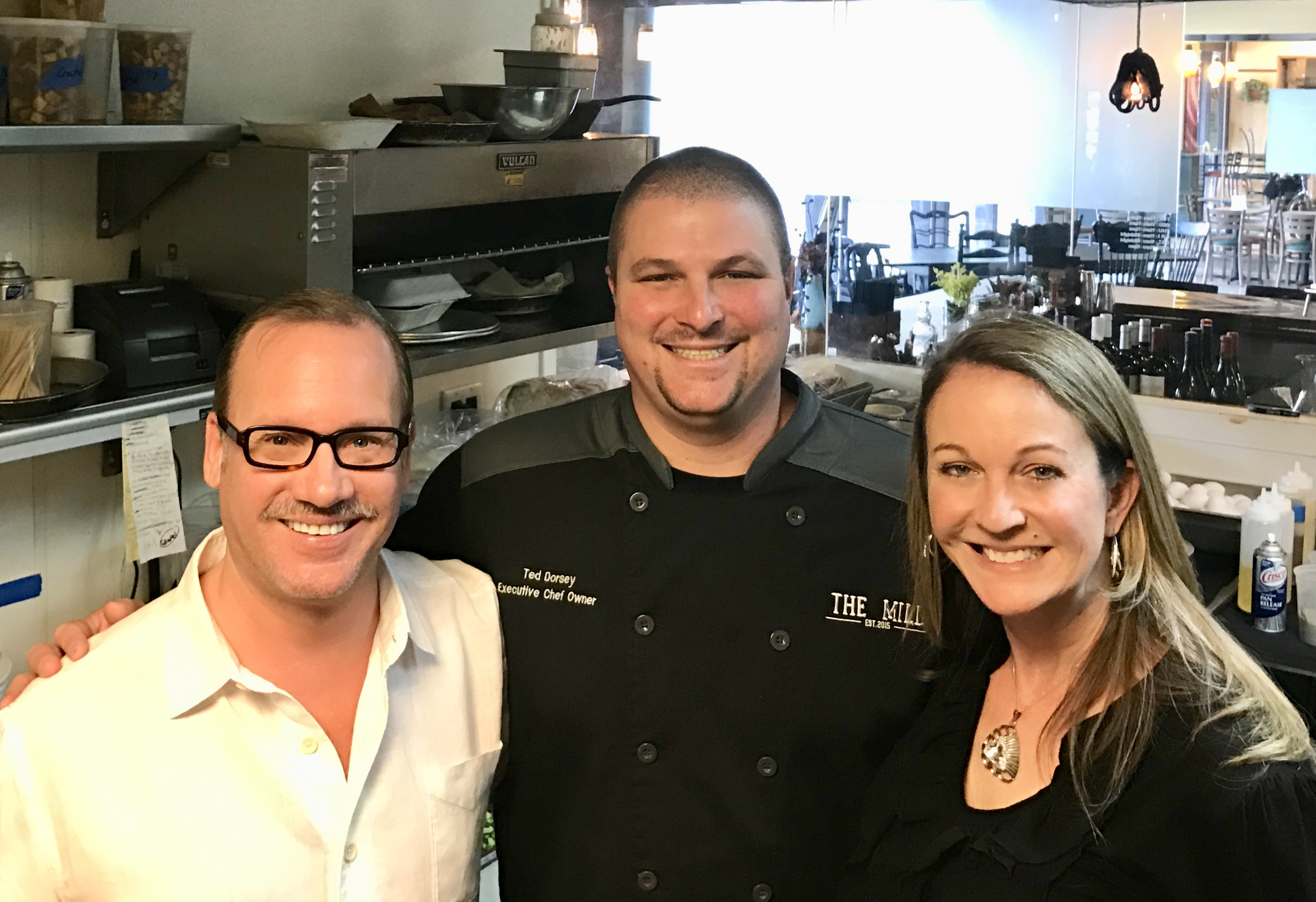Kevin & Lori in the Kitchen at The Mill with Chef Ted