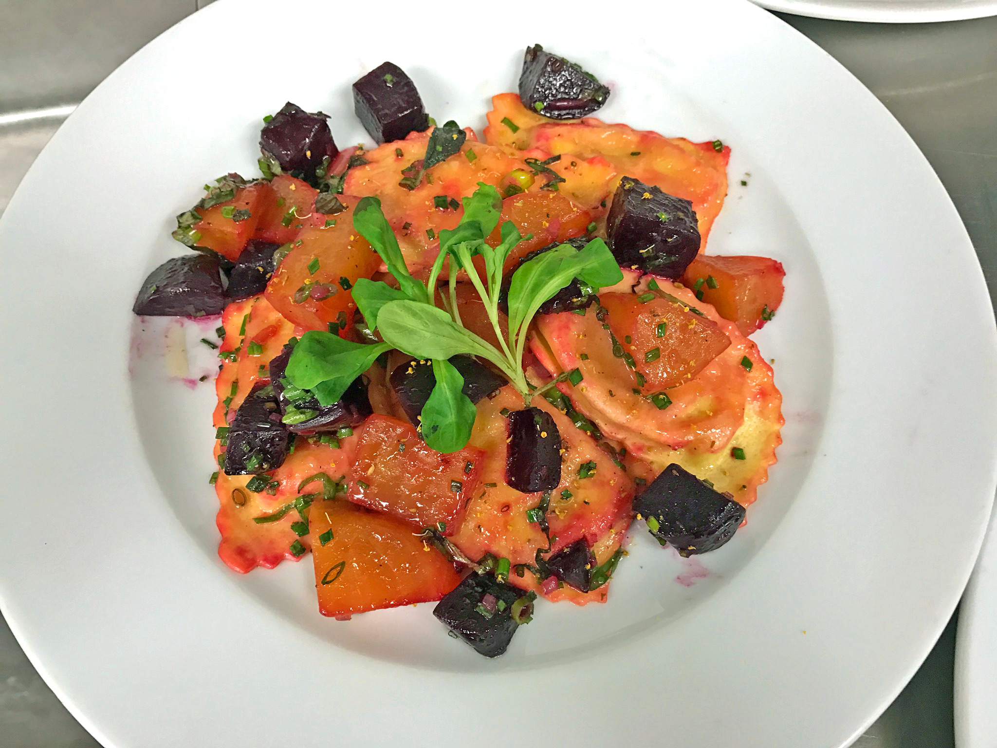 Ricotta & Goat Cheese Ravioli - roasted beets, fennel pollen, sage brown butter