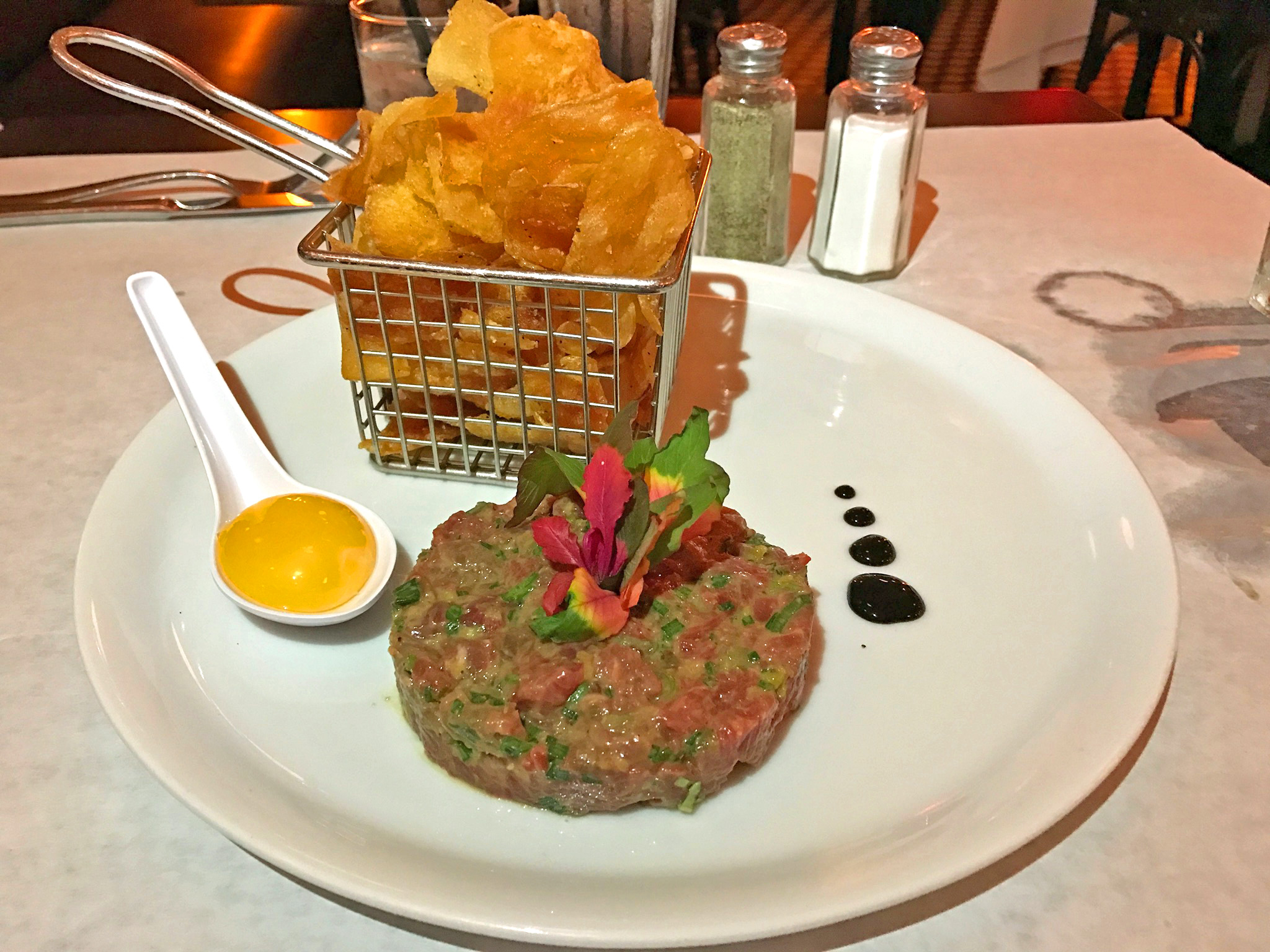 Classic Hand-Cut Steak Tartare w/house made potato chips