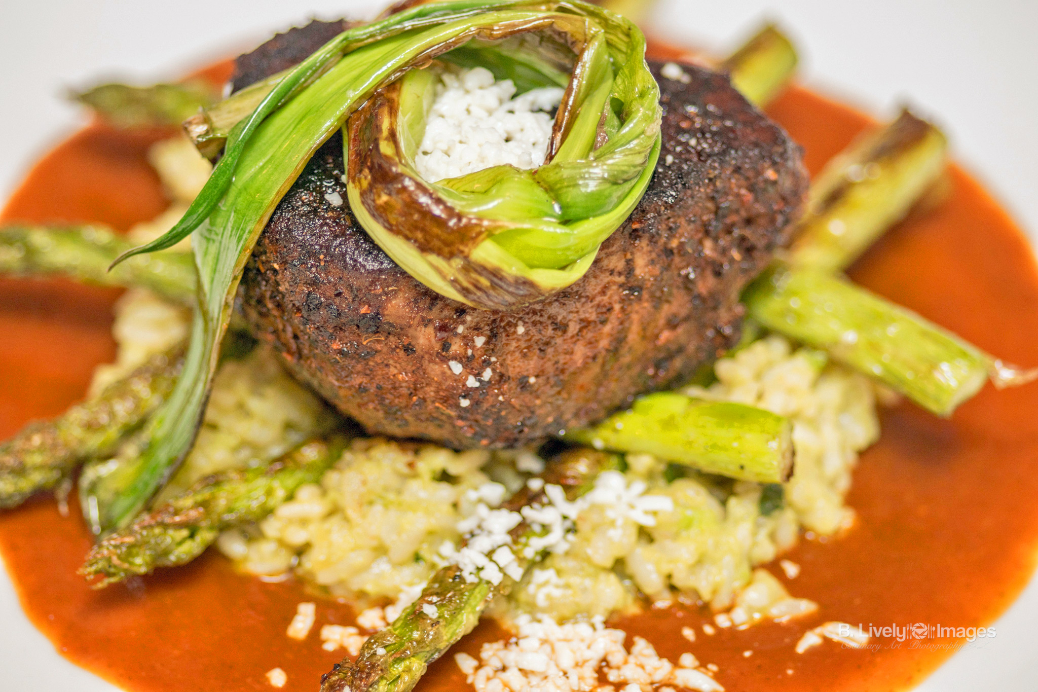 Filete - Ancho chile rubbed filet mignon, avocado risotto, ancho chile sauce, and queso fresco.