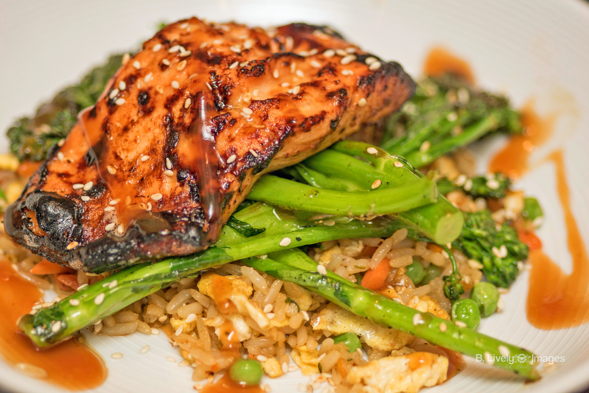 Sweet & Sour Salmon with Fried Rice & Broccolini