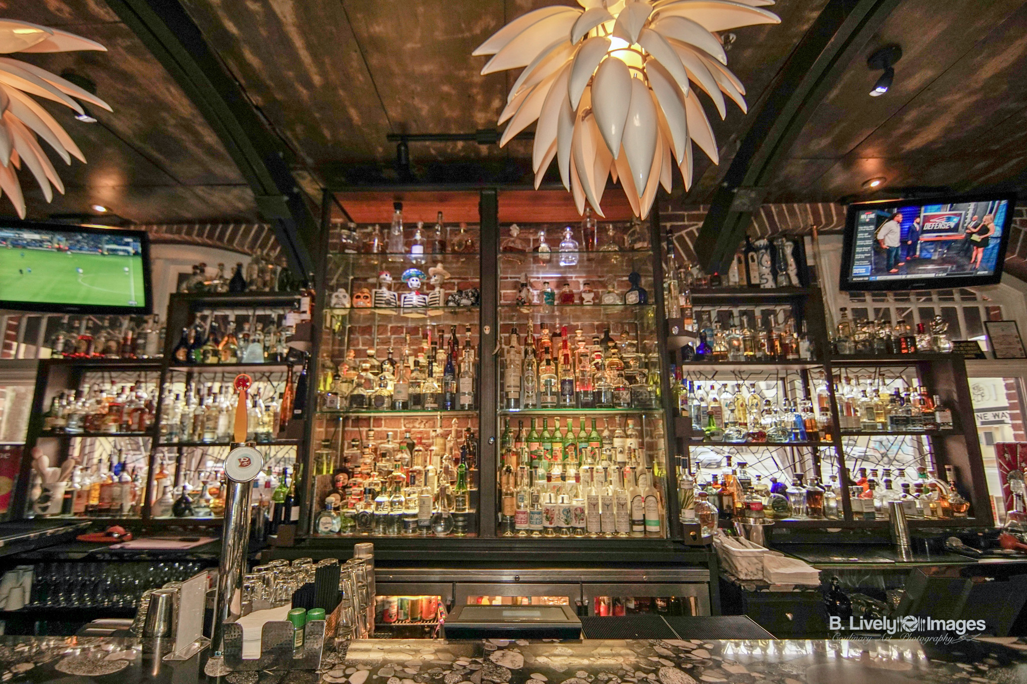 The Inside Bar at Red Mesa Cantina Showing just a small part of the massive tequila collection