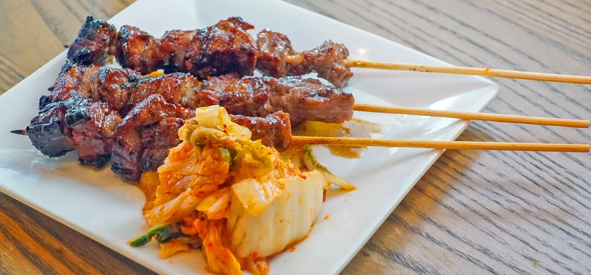 Beef Bulgogi Street Skewers - cooked over a 1000° wood burning grill