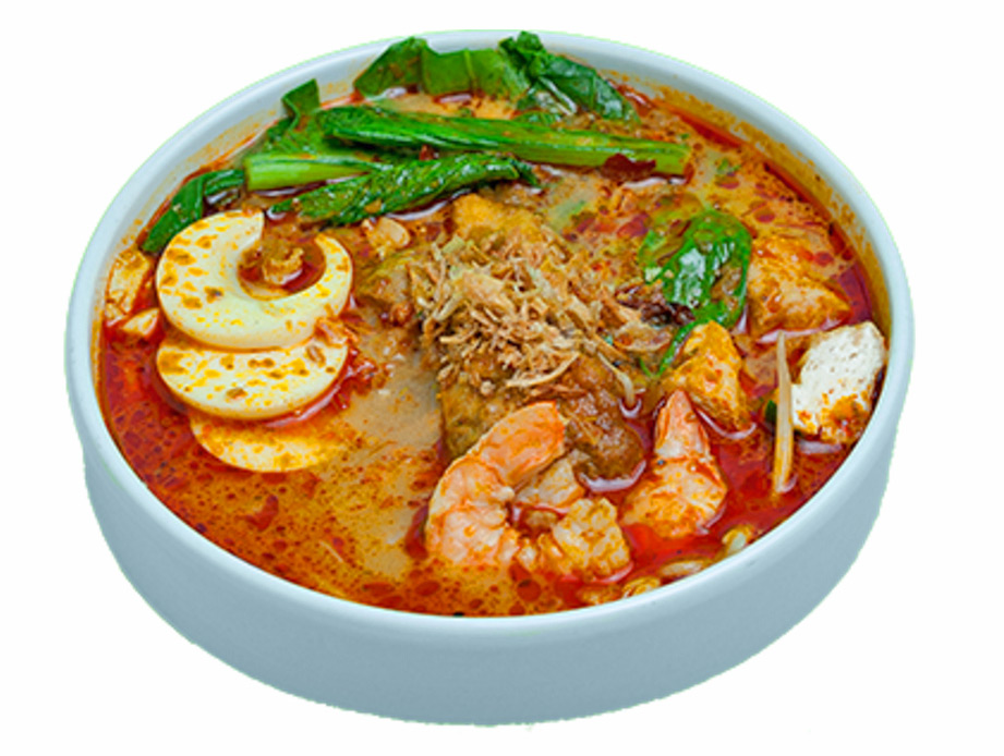 Curry Laksa - coconut curry stew, shrimp, chicken, fried tofu, egg noodles, bean sprouts, yow choy, fried shallots, hard-boiled egg