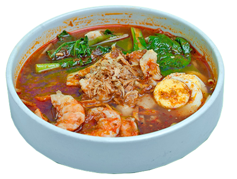 Kin's Prawn Mee - spicy prawn broth, shrimp, chicken, egg noodles, hard-boiled egg, yow choy, bean sprouts, fried shallots