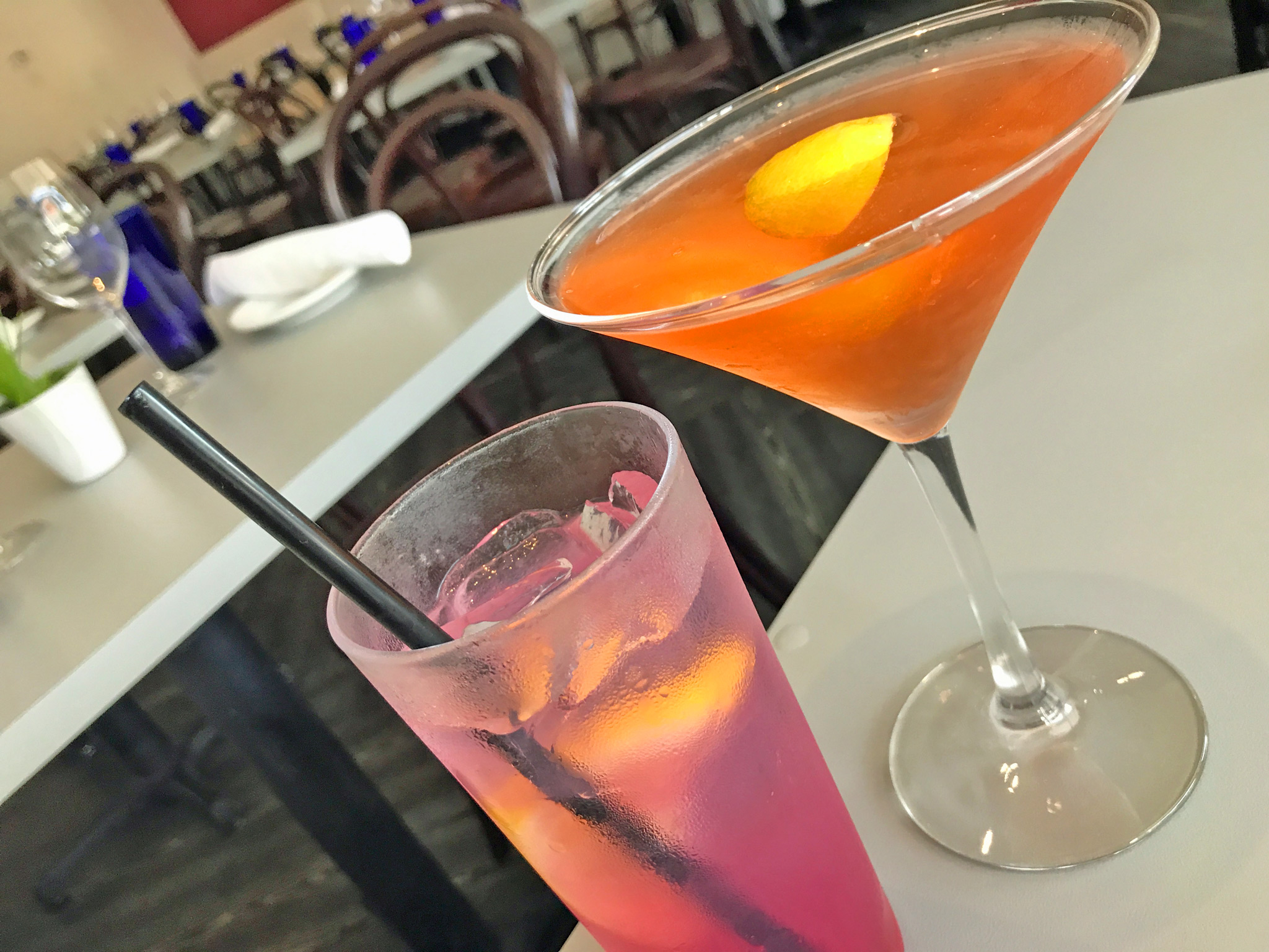 (L) Grace - 360, Lemonade, Lavender-Blueberry Syrup. (R) Watson - Boodles, Aperol, St. Germaine, White Peach Balsamic, Prosecco.
