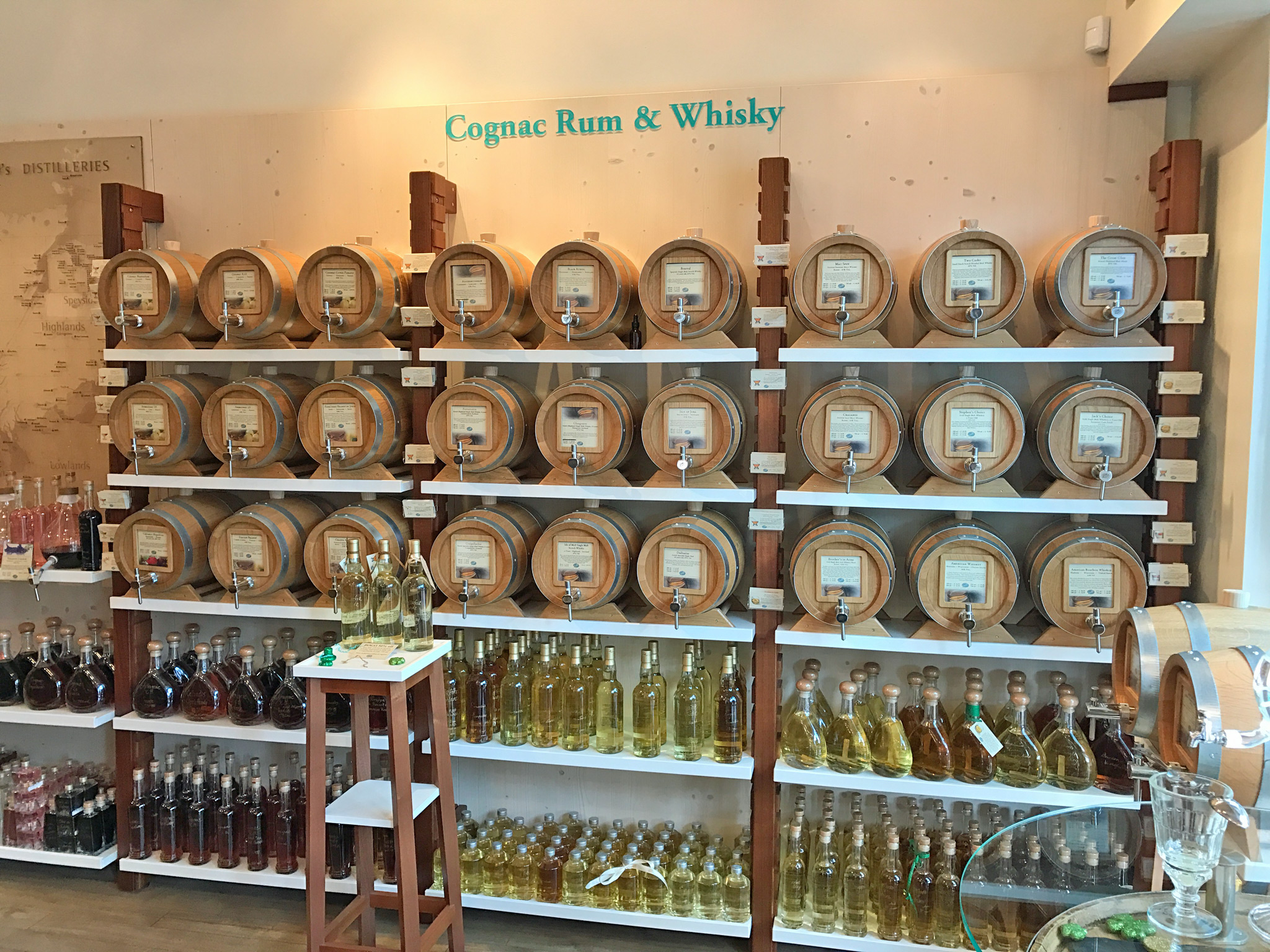 Cognac Rum & Whisky in the Cask
