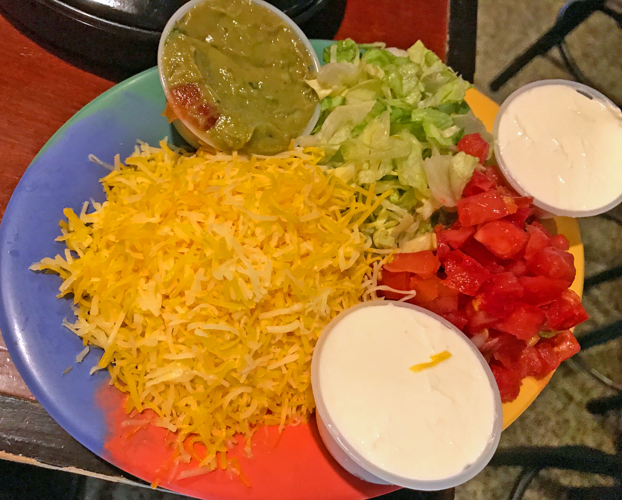 Fajita Toppings - Cheese, Guac. Lettuce, Tomato, Sour Cream