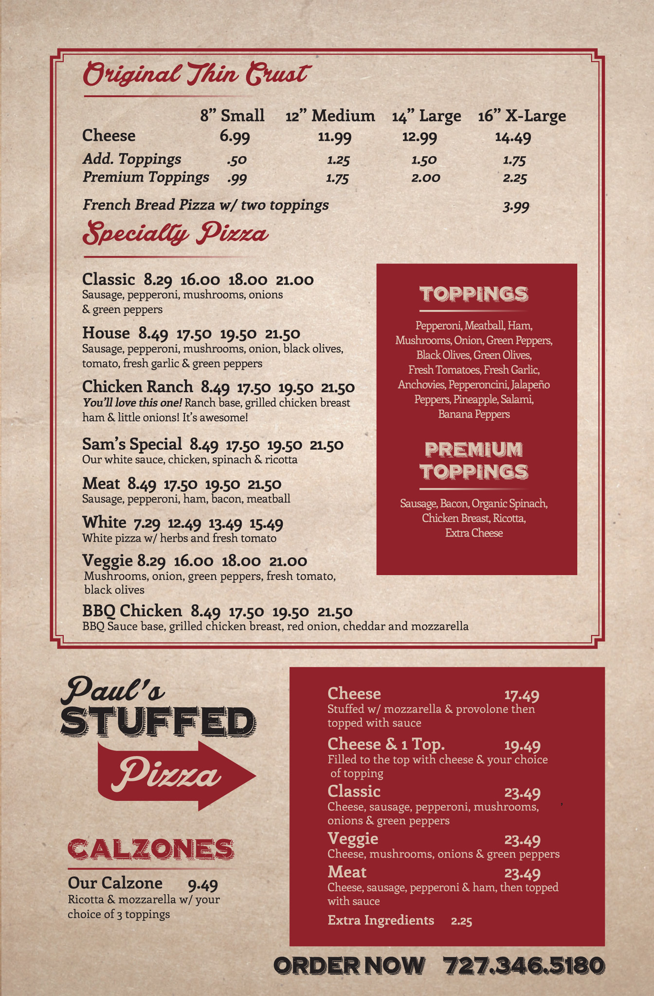Paul's Chicago Pizza Menu