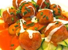 Buffalo Turkey Meatballs with Zucchini
