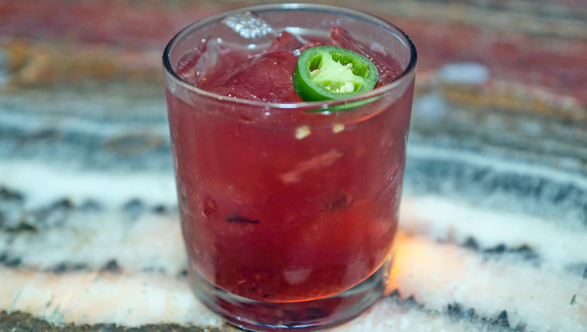 Amatista - muddled lime, sage, cucumber, jalapeno, blueberry, don julio, mathilde creme de casis
