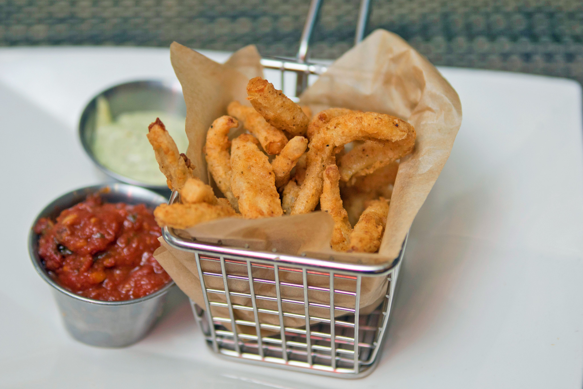 Calamari Fries - mom's marinara, pesto mayo