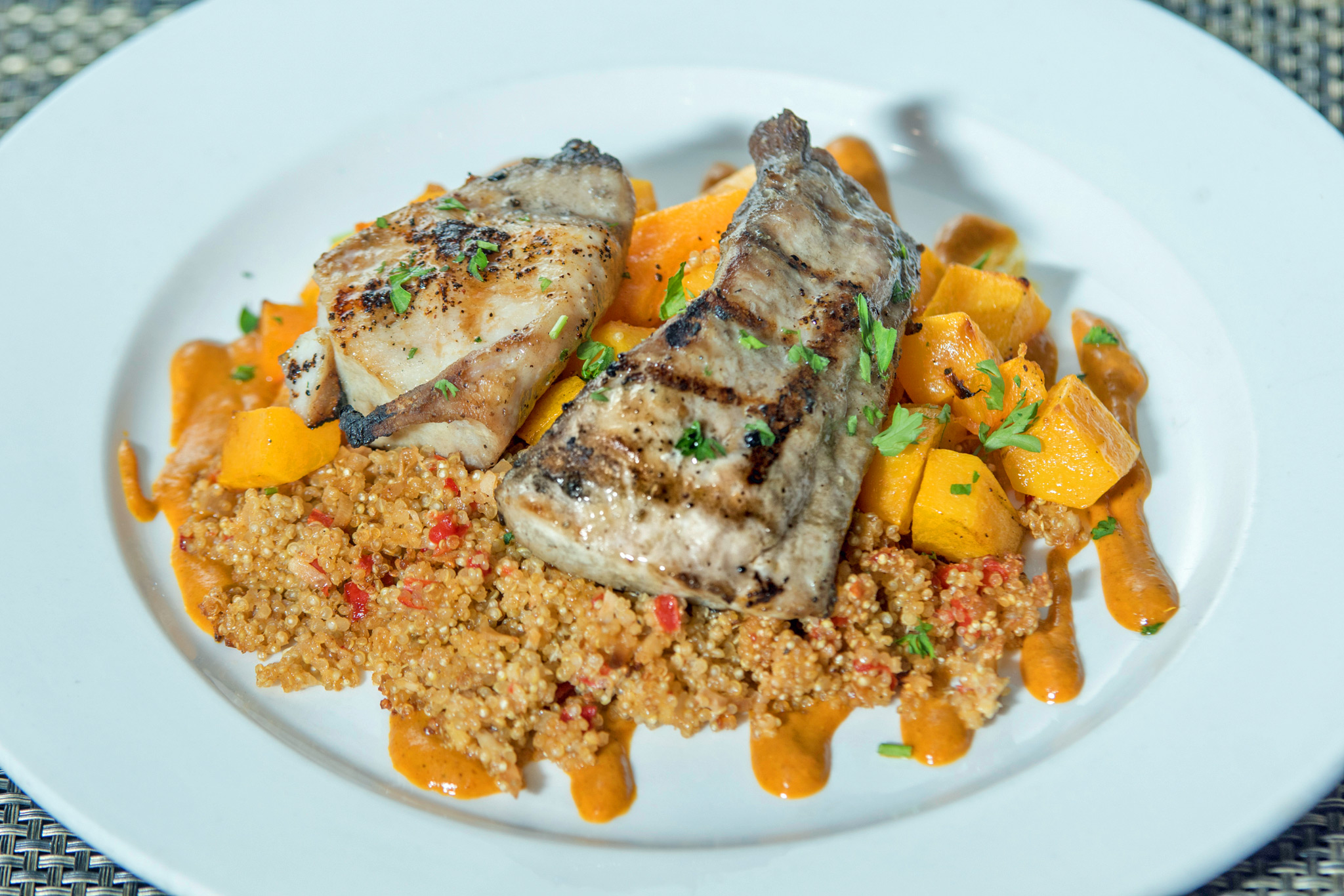 Fresh Caught Grilled Cobia - roasted butternut squash, ginger coconut quinoa, curry coulis