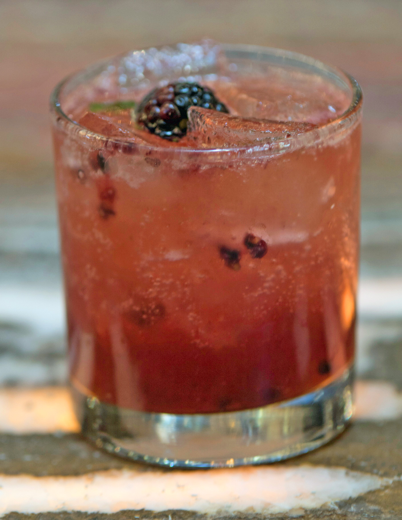 Winter Bramble - muddled mint, blackberries, cognac, top with champagne