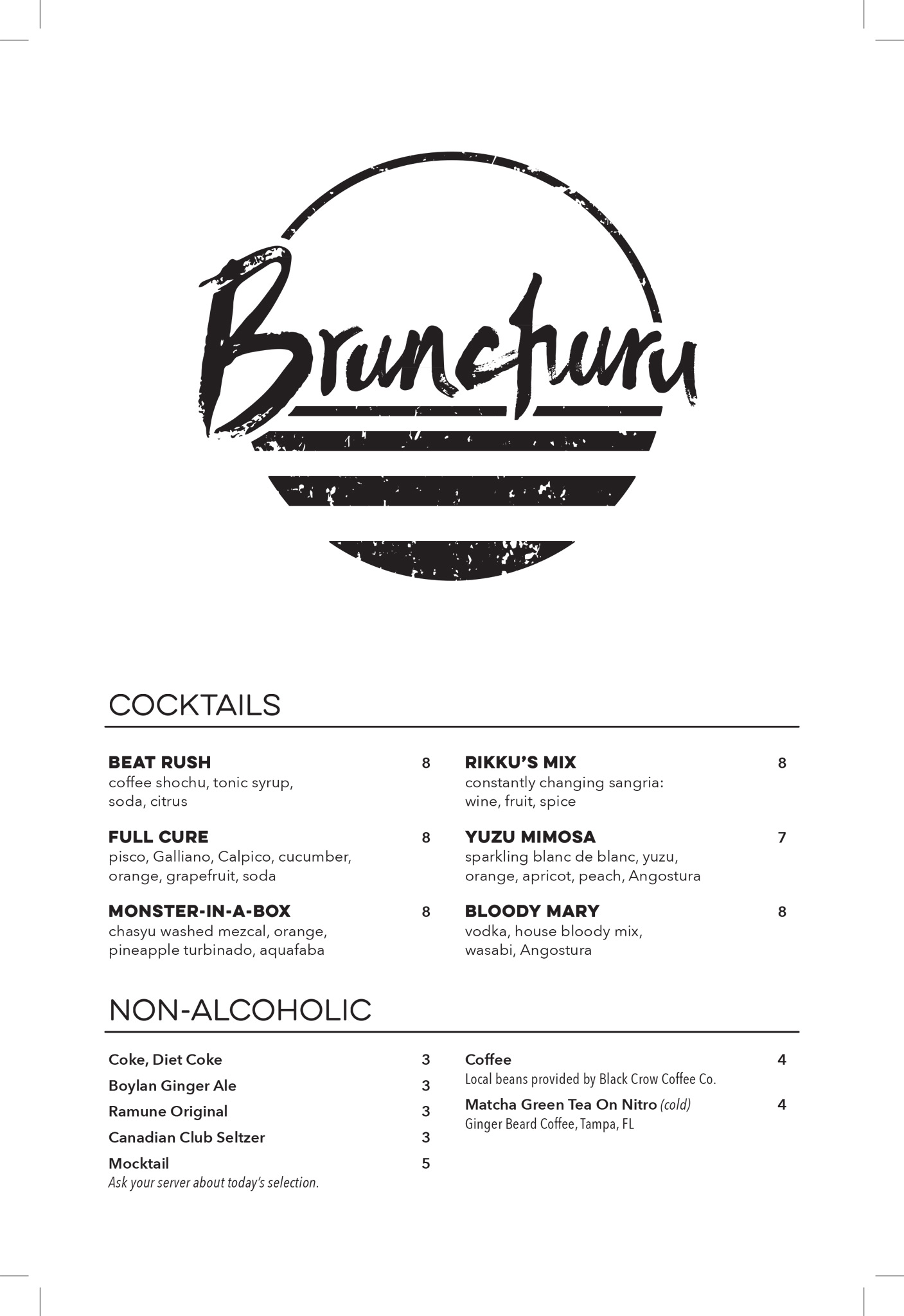 ANE Brunch Cocktail Menu