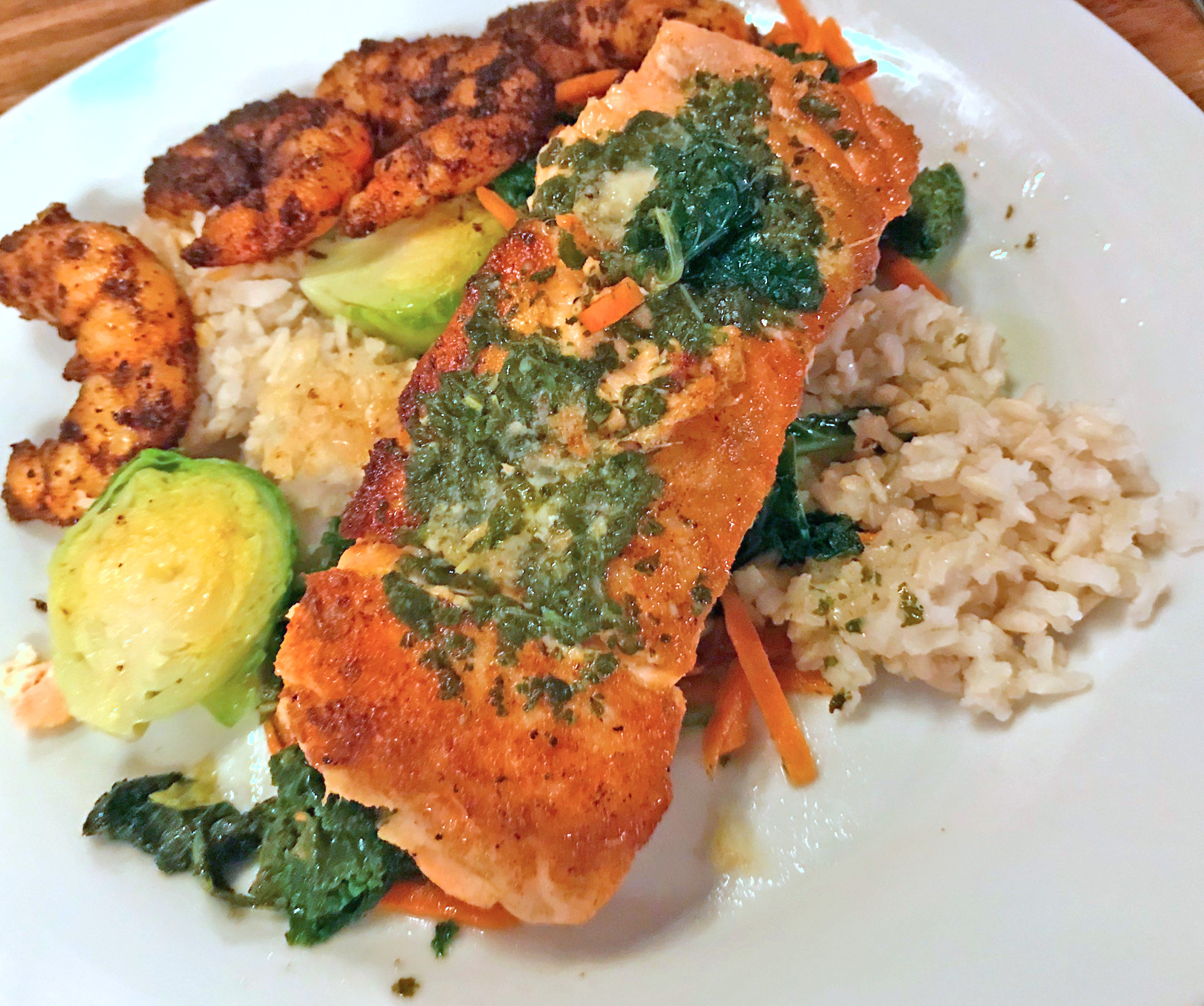 Seared Salmon with Added Blackened Shrimp