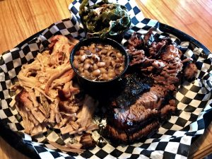 M-N-M BBQ Pulled Pork, Beef Brisket, Black Eyed Peas and Collard Greens