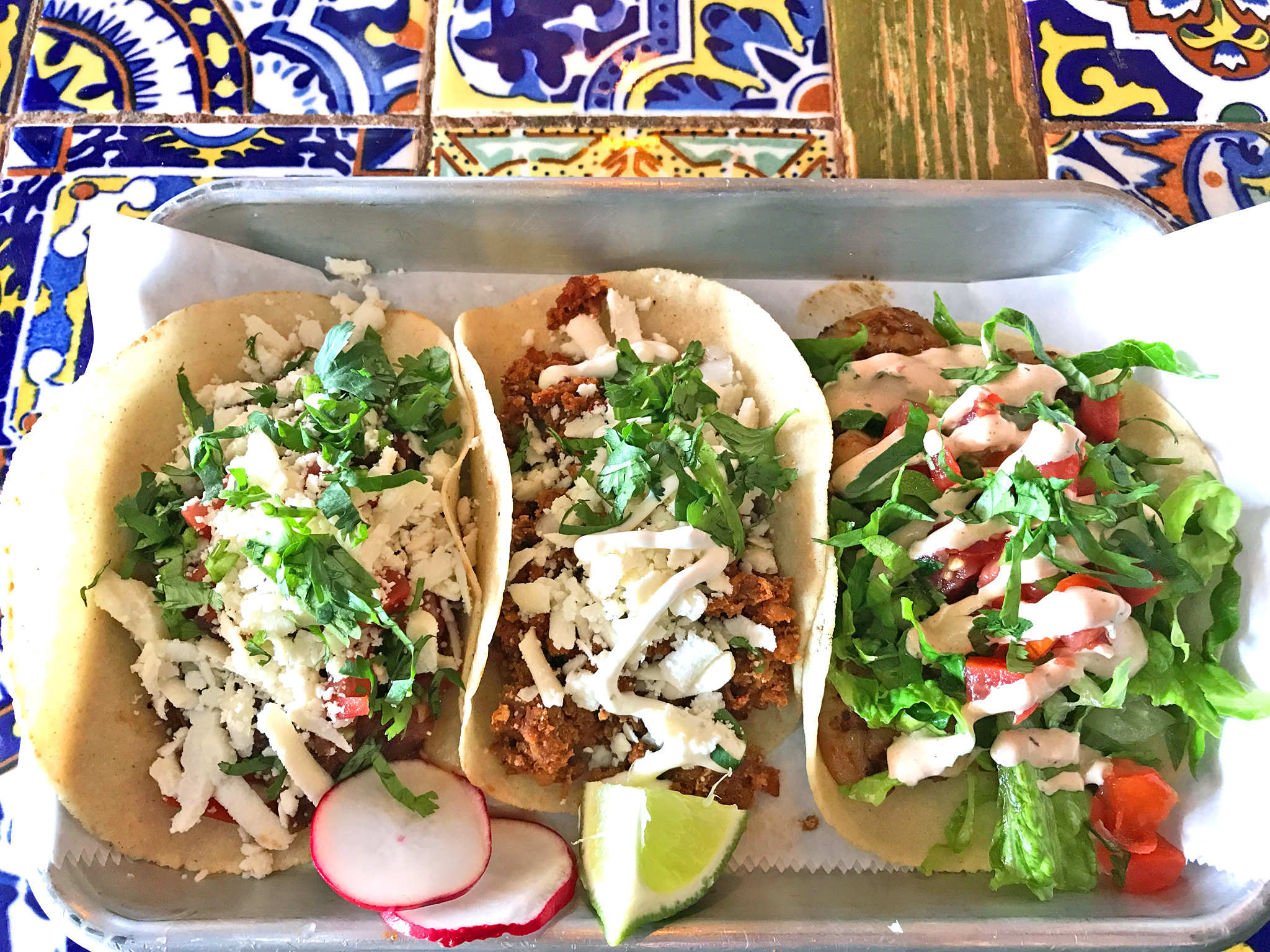 Barbacoa, Chorizo, and Camarones Tacos at Casita