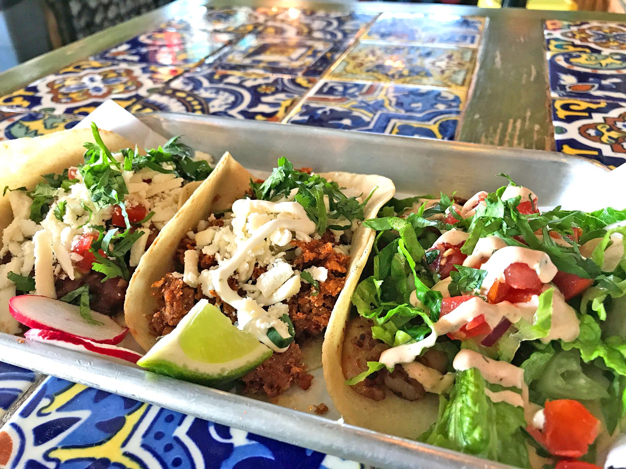 Tacos - L to R Barbacoa, Chorizo, Camarones