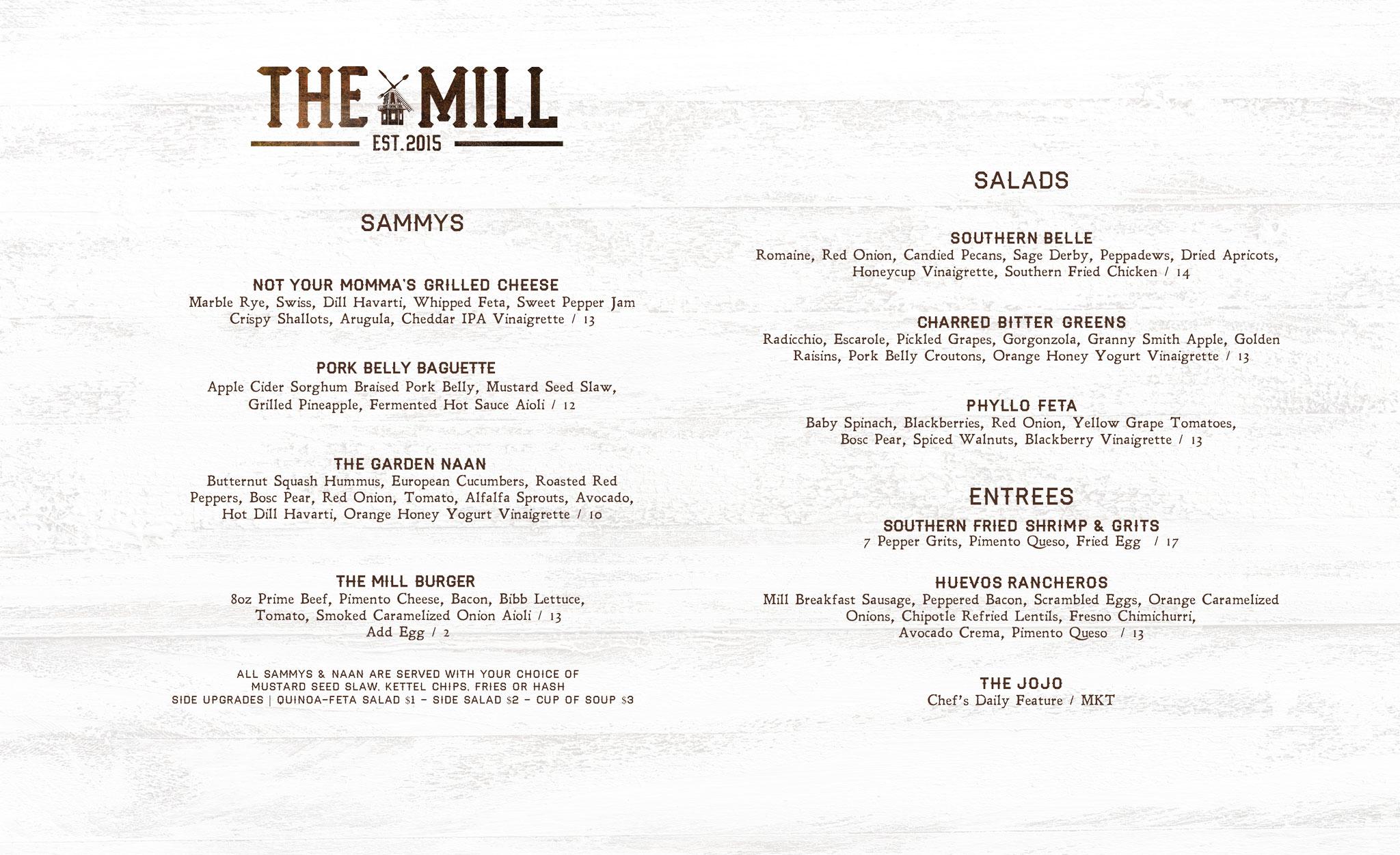 The Mill Brunch Menu