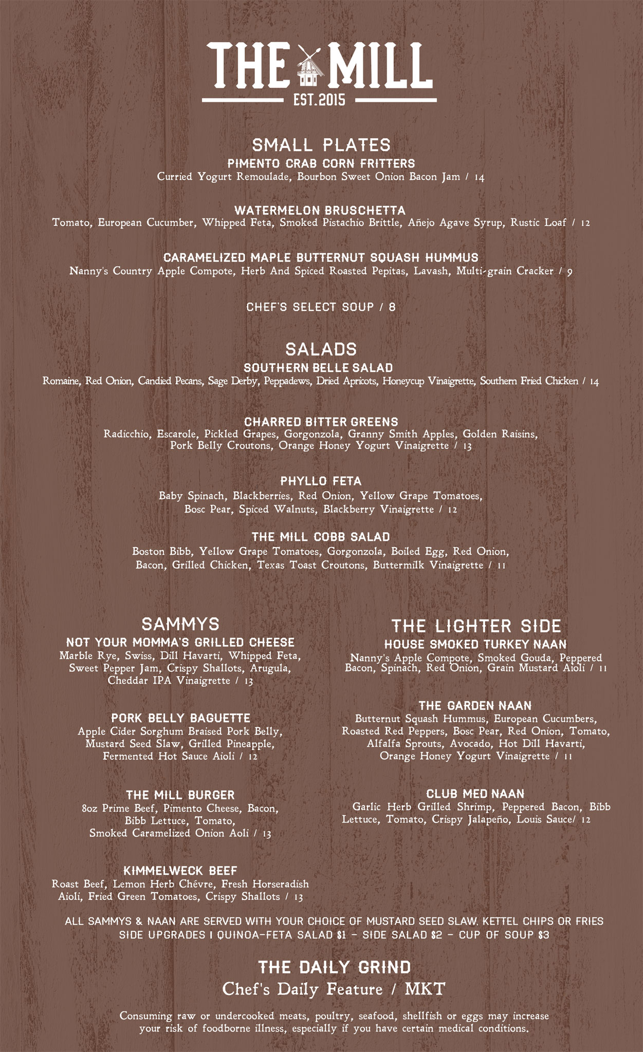 The Mill Lunch Menu