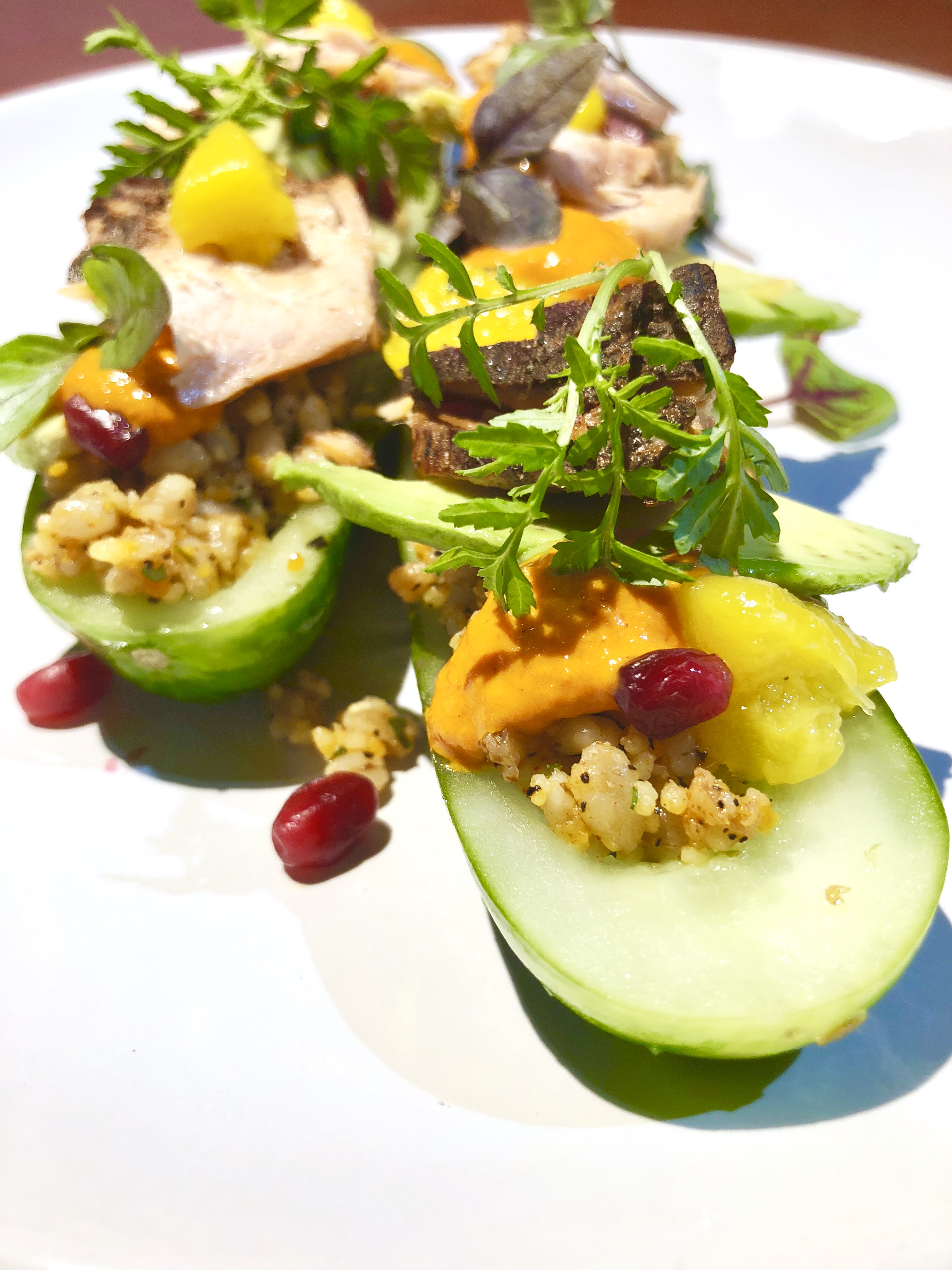 Cedar Smoked Salmon, ancient grains, lemon verbena, Pom seeds, mango, in a marinated cucumber boat.