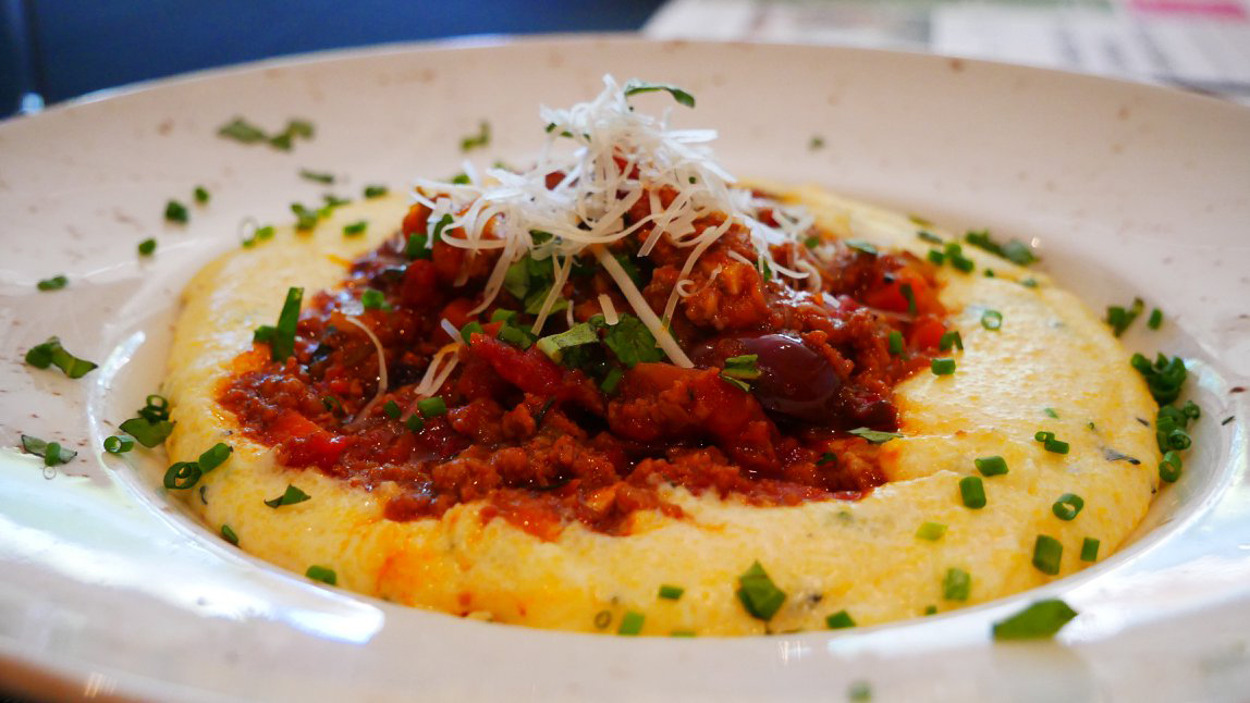 Lamb Bolognese with Creamy Cheesy Polenta
