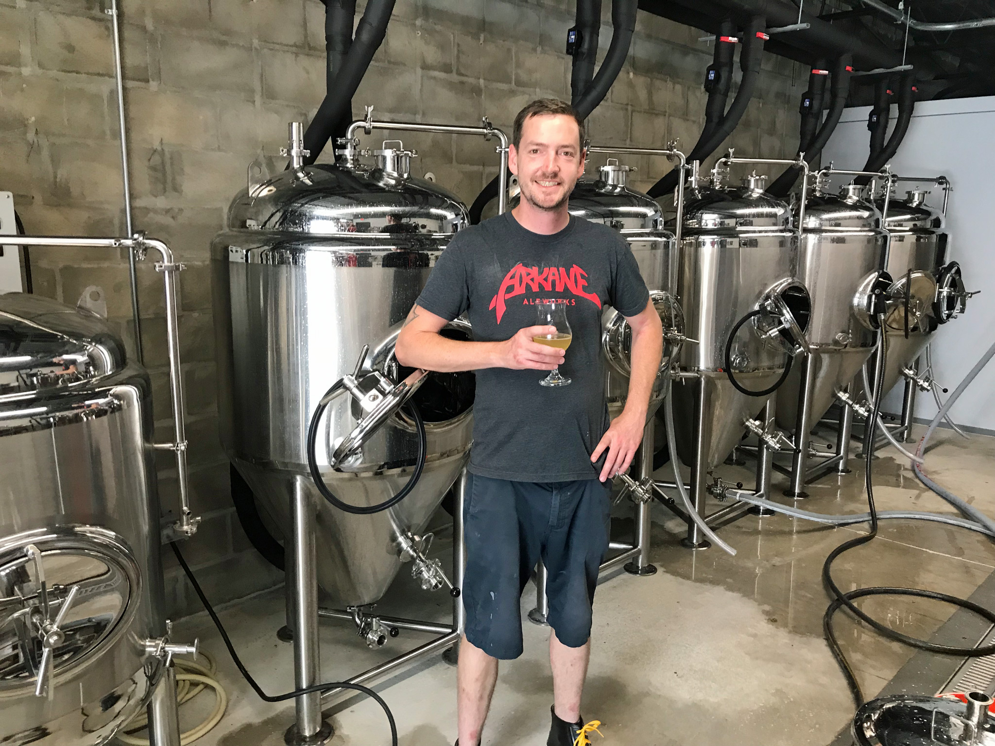 Brewer, Troy Bledsoe, in his new Brewery - Overflow