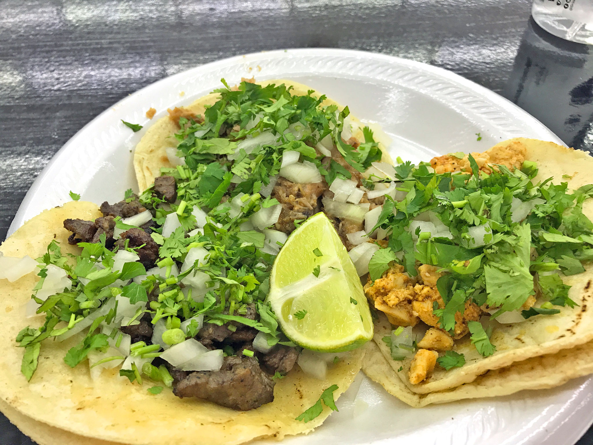 Steak, Pork, and Chicken Tacos at Chile Verde