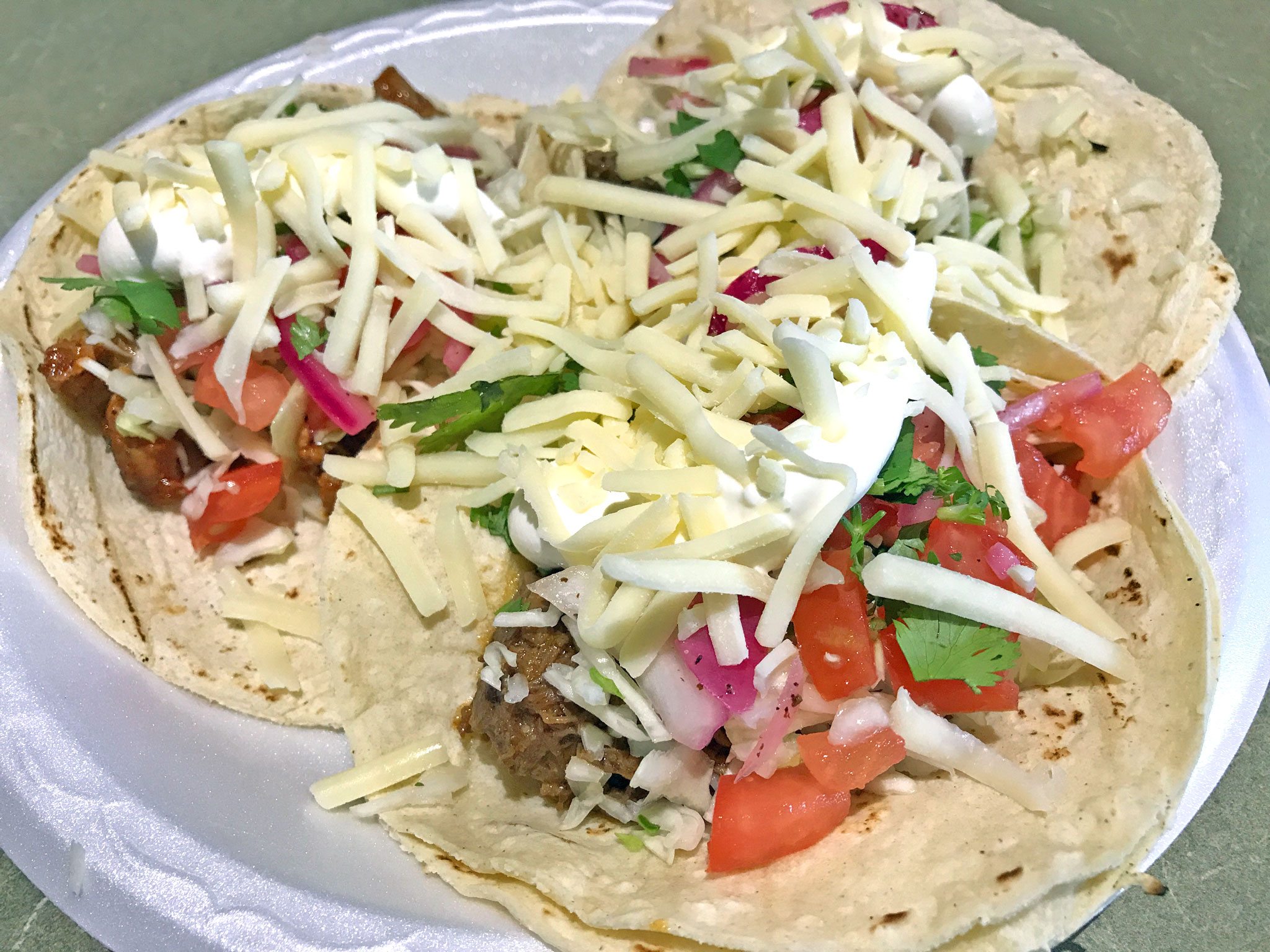 Steak, Shredded Beef & Shredded Pork Tacos