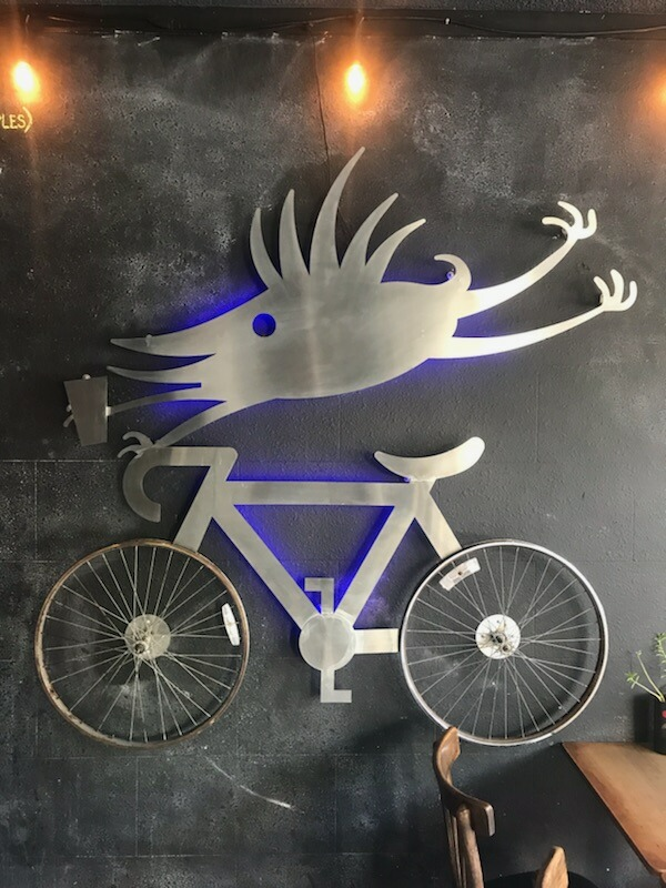 Art on the wall to fit the bicycle theme