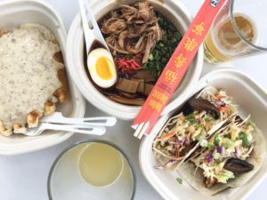 Biscuits and Sausage Gravy Waffle, Truck Ramen and Spike's Taco's with Jackfruit