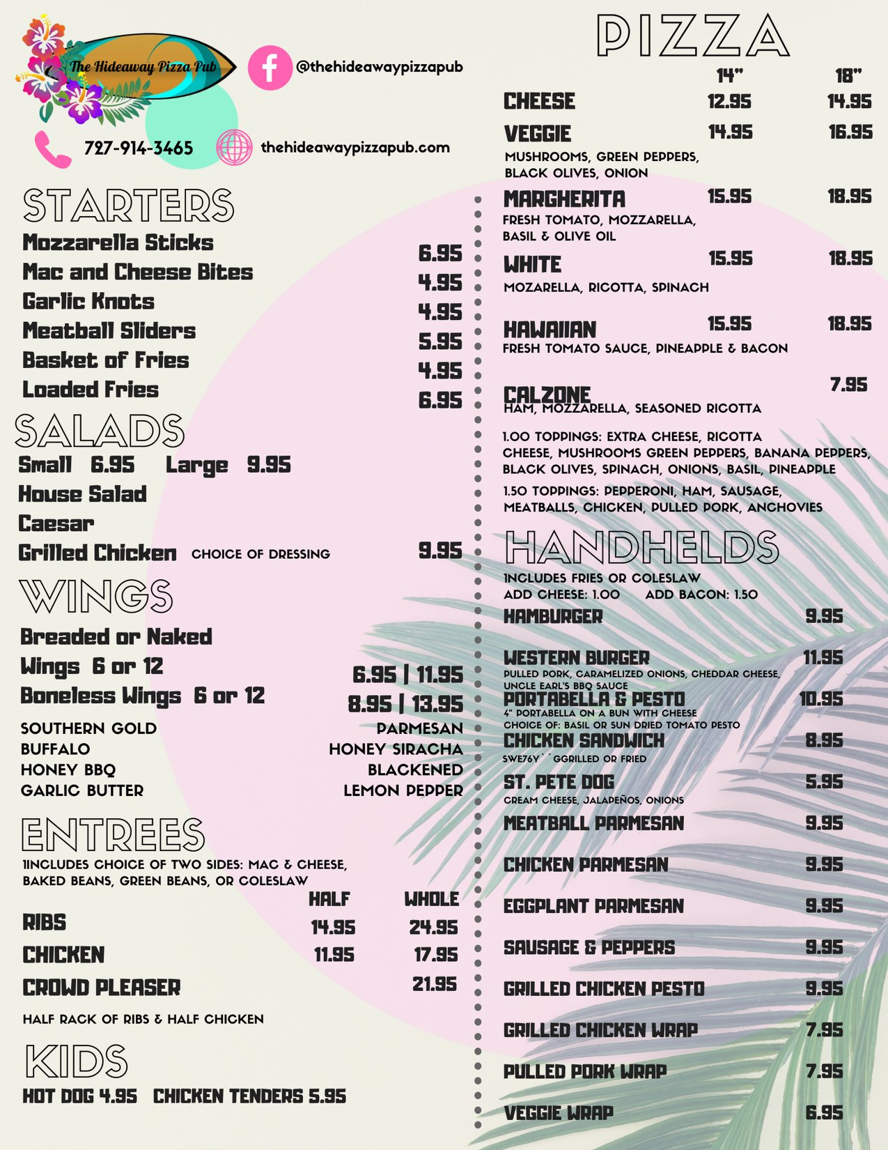The Hideaway Pizza Pub Menu