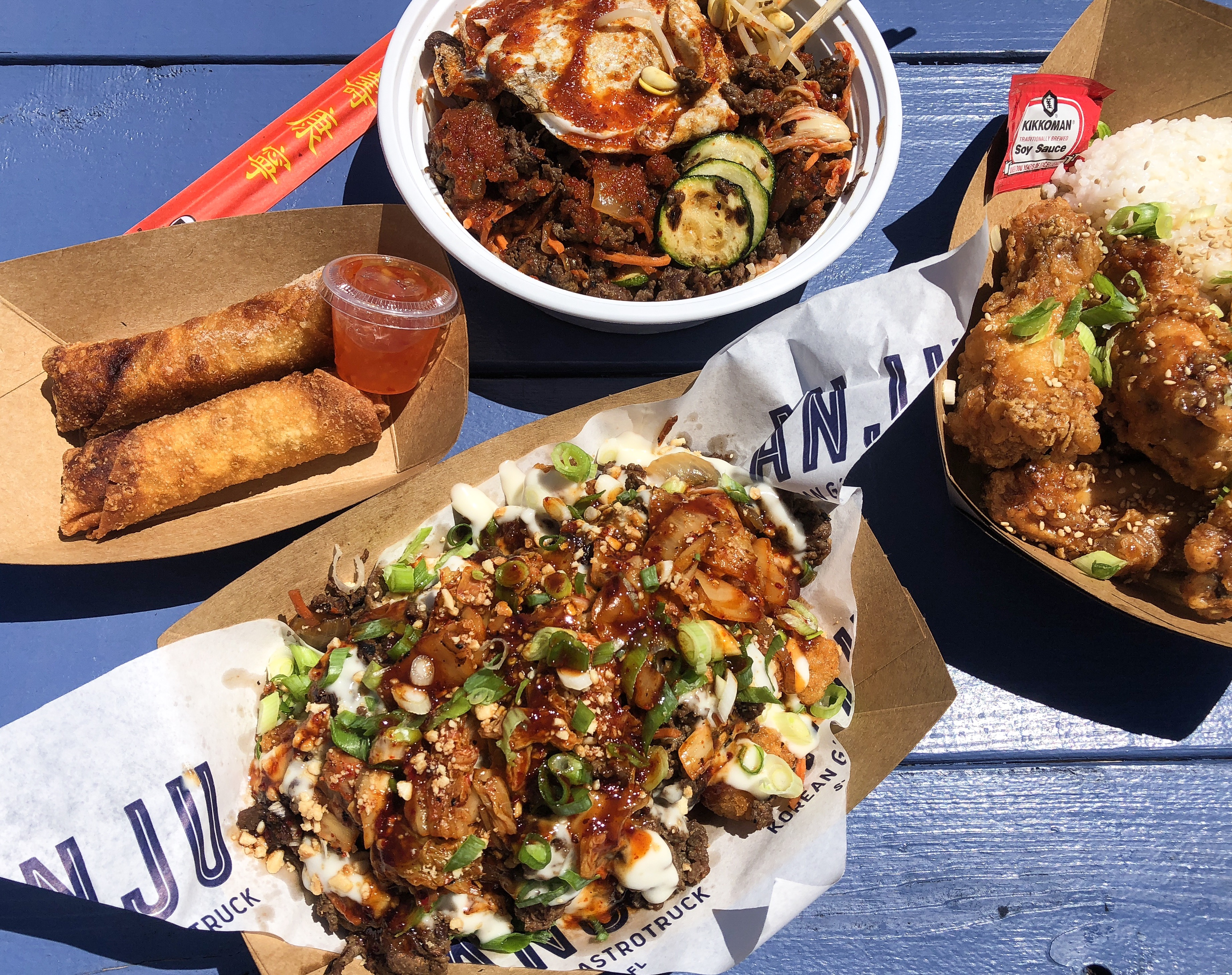 Bop Bowl, K.F.C., K Town, and Pork Egg Rolls