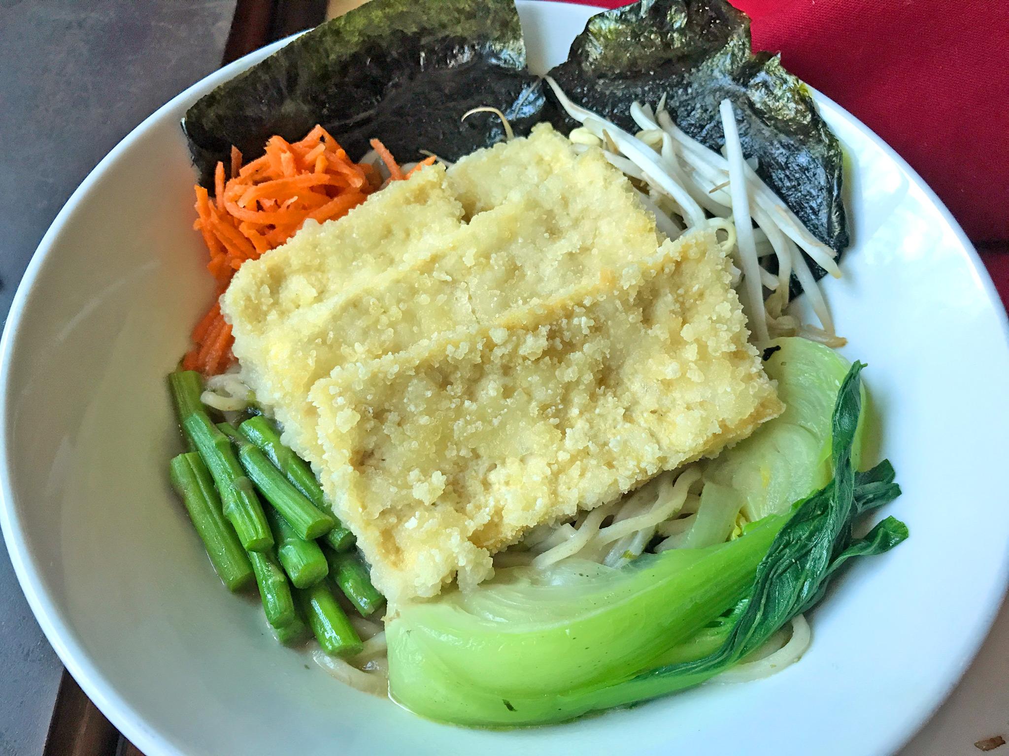 Miso Hungry Ramen - miso broth / nori seaweed / tofu croutons / asparagus / enoki mushrooms