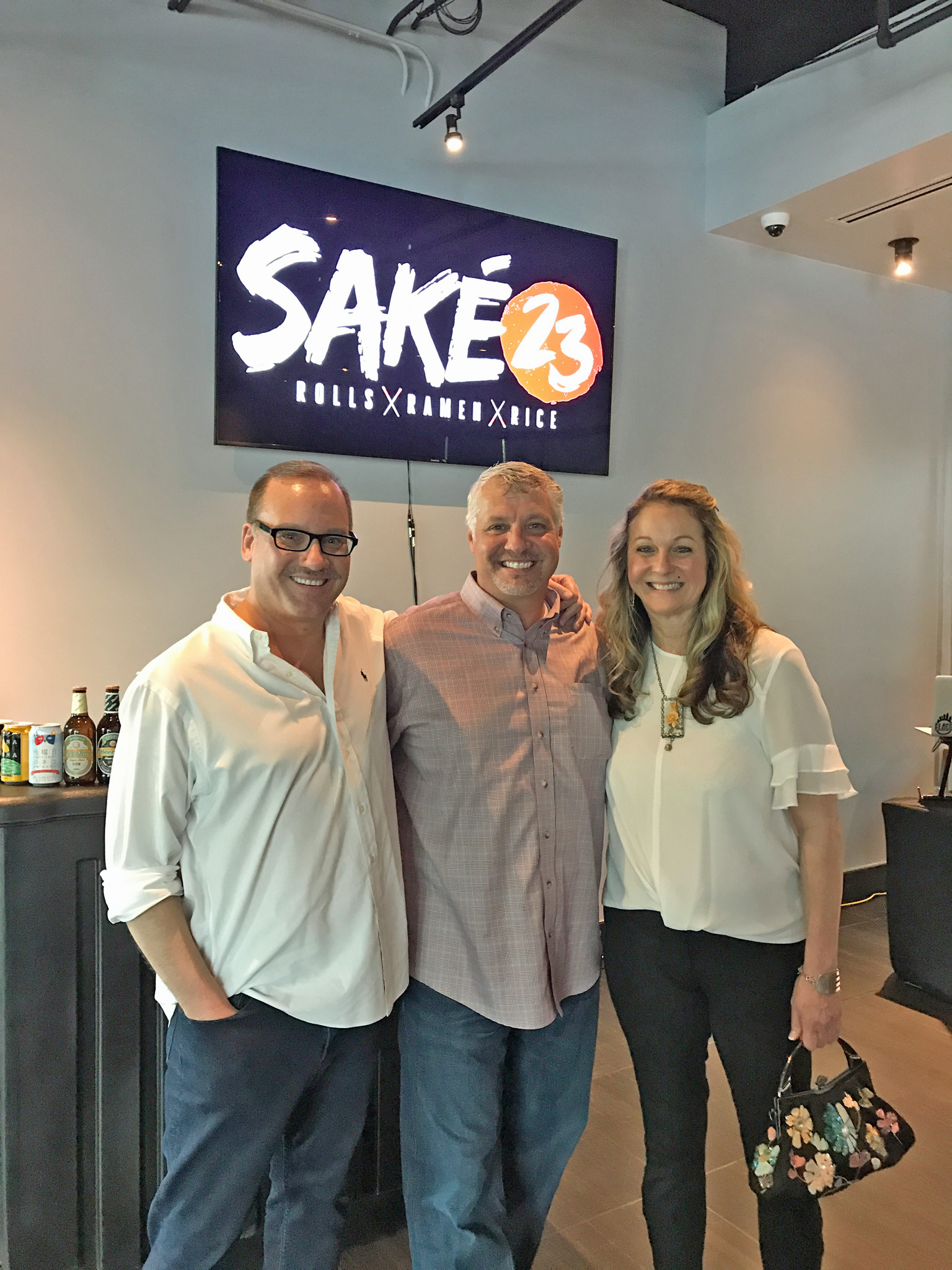Kevin Godbee & Lori Brown (St. Petersburg Foodies) with Billy Diamond (Center), Executive VP of Operations for 23 Restaurants