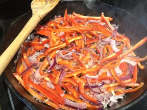 Peppers and Onions Sauteing