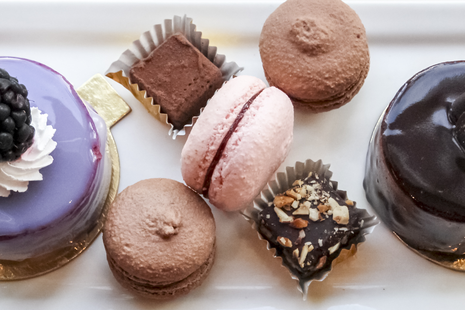 Chocolate Truffle, Amaretto Truffle, Chocolate Macarons and Raspberry Macaron