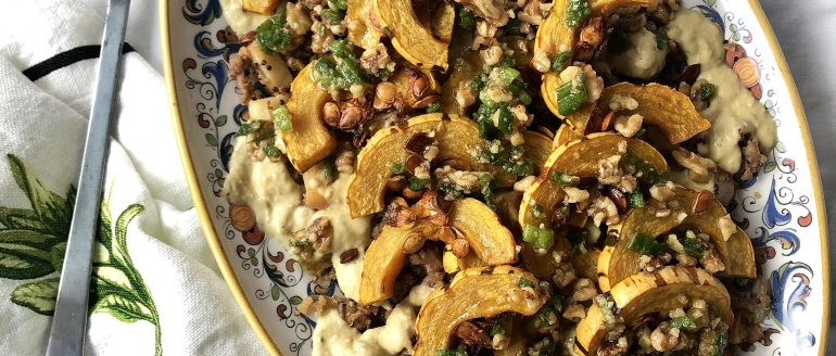 Warm Sausage and Apple Quinoa Salad with Roasted Delicata Squash and Walnut Salsa