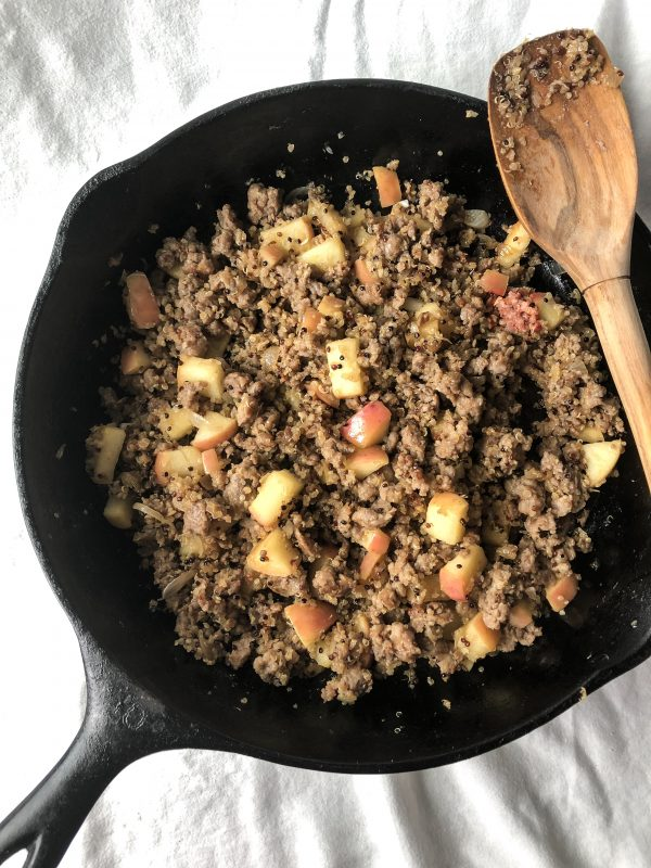 The warm Apple, Sausage and Quinoa Salad