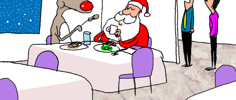 Santa & Rudolph Foodie Cartoon